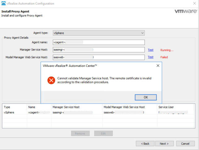 Cannot validate Manager Service Host - Proxy Agent error